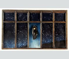"""Promise of Dawn12""""h x 20.25""""w x 2""""d - Encaustic and found objects in an antique cash register drawer."""