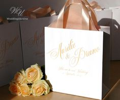 30 Welcome to our wedding bags with Peach satin ribbon handles