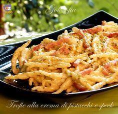 Trofie alla crema di pistacchi e speck, cremose, velocissime e saporite! un piatto sfiziosissimo da non perdere...;)