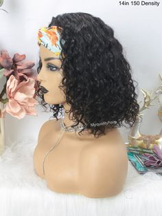 Headband Wig Curly Bob Wigs Beginner Friendly Virgin Human Hair [HW06] – myqualityhair Headband Wigs, Curly Bob Wigs, Half Wigs, Hair Quality, Half Up Half Down, How To Make Hair, Protective Styles, Cool Hairstyles, Take That