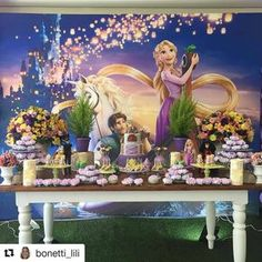 Baby Girl Birthday Theme, Rapunzel Birthday Party, Tangled Party, Disney Princess Birthday, Tinkerbell Party, Minecraft Birthday Party, Bday Girl, 3rd Birthday Parties, Birthday Party Centerpieces