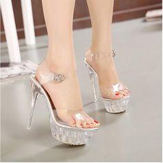 2016 Women High Heel Sandals Sexy Crystal Transparent Women Shoes Fish head High Platform 14cm Shoes Large Size 35-42