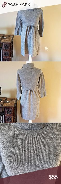 J. Crew wool and cashmere turtleneck dress size M Good used condition.  Cozy gray turtleneck dress by J. Crew. Size medium.  55% wool, 30% nylon, 15% Cashmere. Dry clean only.  Smoke free home. J. Crew Dresses