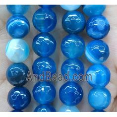 royal blue striped agate bead, faceted round (GA1199-10MM) approx 10mm dia Agate Beads, Royal Blue