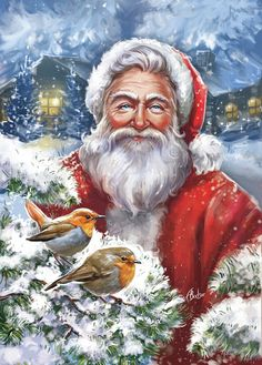 Leading Illustration & Publishing Agency based in London, New York & Marbella. Old Time Christmas, Christmas Bird, Christmas Drawing, Old Fashioned Christmas, Christmas Scenes, Father Christmas, Vintage Christmas Cards, Christmas Pictures, Xmas