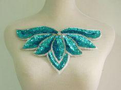 HP49 Aqua Sequin Beaded Applique Leaf Collar Hipbelt for Dancewear Samba Wear | eBay