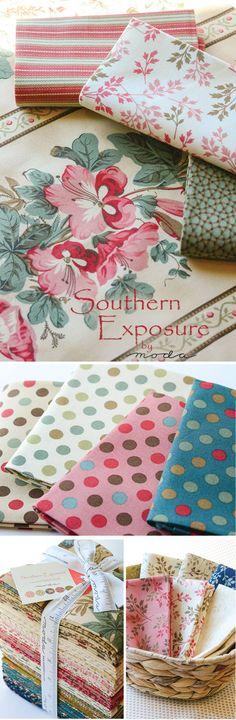 Southern Exposure - Moda Fabrics Colors of Tea, Sweet Berry, and Biscuit converge in the Southern Exposure fabric collection from Moda Fabrics. This understated collection is perfect for creating a homey quilt with soft tans, beiges, and little pops of colors. The classic patterns incorporate floral fabrics as well as stripes and polka dots. Designed by Laundry Basket Quilts.