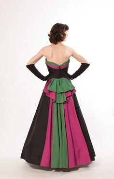 1940s Evening Gown -  Black with Magenta Pink and Deco Green