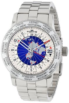 """Fortis Men's 674.20.15 M B-47 """"Worldtimer"""" Stainless Steel Automatic Watch"""