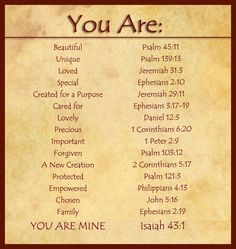 Uplifting Quotes From the Bible | You Are.. from The Bible. | Inspirational Quotes http://thepopc.com/bible-verses/