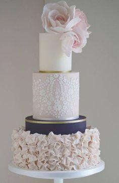 Gold Wedding Cakes Elegant three tier blush, navy and white wedding cake with gold wrap detail; Blush Wedding Cakes, Round Wedding Cakes, Amazing Wedding Cakes, Elegant Wedding Cakes, Wedding Cake Designs, Trendy Wedding, Wedding Vintage, Gold Wedding, Cake Wedding