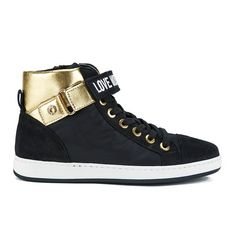 Buy Love Moschino Women's High Rise Hi-Top Trainer - Black from Allsole. Black High Top Sneakers, Black High Tops, Gold Trainers, Black Lace Up Shoes, Moschino, Shoes Sneakers, Zip, Polyvore, Ideas