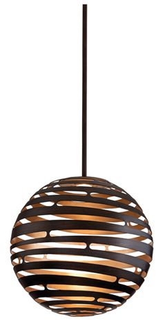 Tango, by Corbett Lighting, is made from laser-cut metal formed into a seamless sphere with an LED light source. The textured bronze exterior and silver leaf finish interior makes for a beautiful contrast of colour. Interior Lighting, Home Lighting, Modern Lighting, Chandelier Lighting, Lighting Design, Transitional Lighting, Troy Lighting, Multi Luminaire, Deco Luminaire
