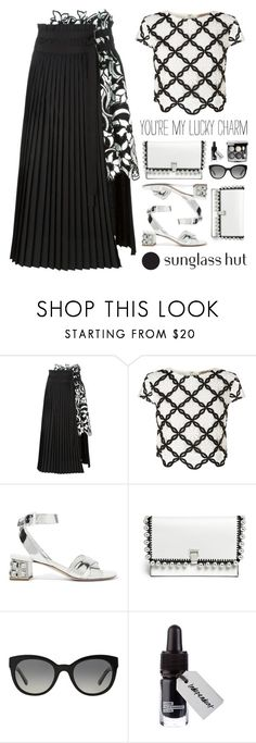 """Shades of You: Sunglass Hut Contest Entry"" by mockingjayafire ❤ liked on Polyvore featuring Sacai, Lipsy, Miu Miu, Proenza Schouler, Burberry, contest, blackandwhite, mockingjayafire and shadesofyou"