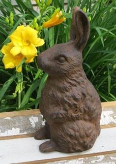 Stacked Bunny Rabbits Foundry Iron Statue Spring Hare Doorstop Sculpture