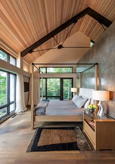 Rustic Meets Modern in Gleason Lake Home - The subtle complexities of the master bedroom embody shibui, the Japanese concept of beauty. Modern Architecture House, Modern House Design, Interior Architecture, Interior Design, Wood House Design, Cottage Design, Modern Houses, Home Bedroom, Bedroom Ideas