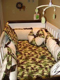 Little Bunny Blue Lil Trooper Camo Minky Stripe 6 piece crib Bedding EUC #LittleBunnyBlue