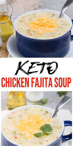 An easy to make and delicious creamy keto chicken fajita soup packed with veggies, chicken and healthy ingredients. Serve this low carb creamy chicken fajita soup with this keto cornbread… Healthy Chicken Recipes, Mexican Food Recipes, Keto Recipes, Dinner Recipes, Easy Recipes, Dinner Ideas, Recipe Chicken, Dessert Recipes, Dessert Food