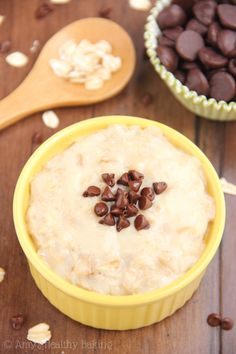 This healthy oatmeal tastes exactly like a slice of Chocolate Chip Cheesecake but has 9 grams of protein & barely 200 calories!