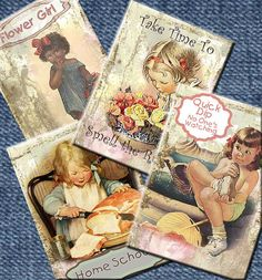 SCHOOLS OUT FuN Girls play Vintage Tags ATC Digital by ArtToArt, $2.25/You 've got to see these, I love this link!!!!!