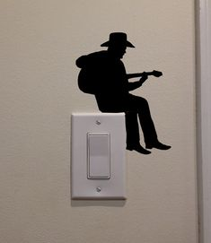 YINGKAI Cowboy Playing Guitar On Light Switch Decal Vinyl Wall Decal Sticker Art Living Room Carving Wall Decal Sticker for Kids Room Home Window Decoration * To view further for this item, visit the image link. (This is an affiliate link) Wall Painting Decor, Guitar Wall, Clock Art, Wall Decal Sticker, Wall Stickers Guitar, Living Room Art, Playing Guitar, Paint Designs, Kids Room