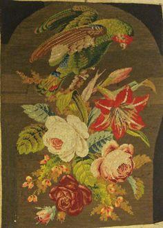 victorian needlepoint parrot