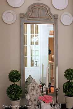 Thrift store mirror becomes a French Country treasure with a simple paint technique by Our Southern Home #diy #thrift #thrifted