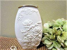 Lenox Flower Vase White Cream Gold Porcelain Raised Roses Embossed Vintage blm by PorcelainChinaArt on Etsy