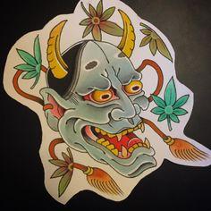 Vincent Penning Hannya Mask Tattoo, Oni Mask, Japanese Tattoo Designs, Japanese Design, Cloud Tattoo, Devil Tattoo, Oriental Tattoo, Japan Tattoo, Masks Art