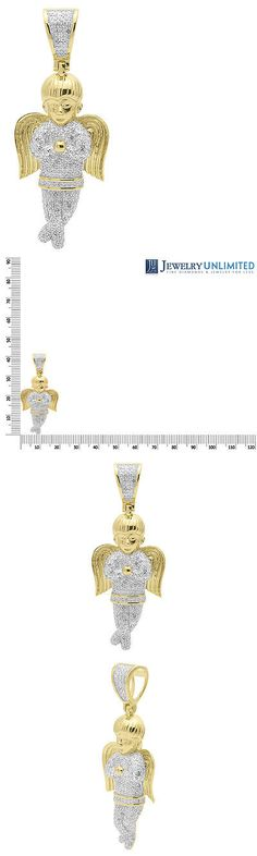 Bridal and Wedding Party Jewelry 164310: Yellow Gold Finish 1.65 Pave Diamond Iced Out Praying Angel Pendant Charm 1 Ct -> BUY IT NOW ONLY: $199.99 on eBay!