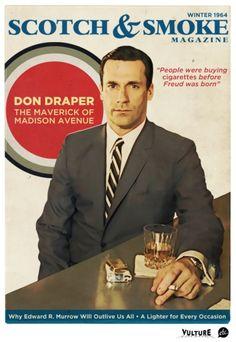 6a847ec6004 Don Draper on the Cover of Scotch   Smoke Magazine by Jon Defreest