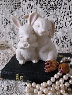 Vintage Love bunny figurine, homoco, He loves me 1990, wedding cake topper on Etsy, $18.05 CAD