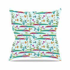 KESS InHouse AD1008AOP03 18 x 18-Inch 'Alisa Drukman Under Sea Blue Pattern' Outdoor Throw Cushion - Multi-Colour