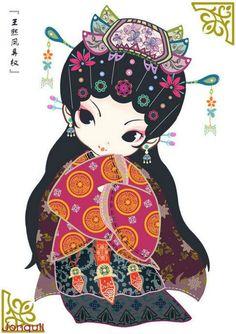 Twelve Beauties Red Mansions (Q version) ~ by Jonquil Rong Momiji Doll, Kokeshi Dolls, Holly Hobbie, Japanese Love, Japanese Art, Geisha Drawing, Chibi, Chinese Cartoon, Asian Doll
