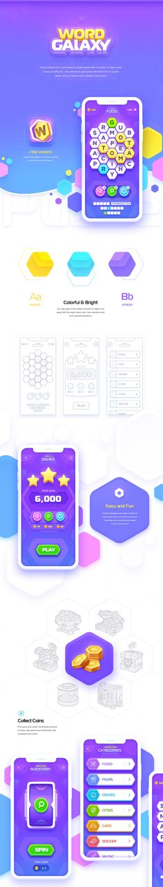 3 iOS Games - Word Puzzle Quiz Sudoku on Behance Game Ui Design, App Design, Design Ideas, Mobile Design, Logo Design, Graphic Design, Building Games For Kids, Game Gui, Game Icon