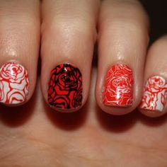 pretty nails. would do the floral with a really soft pink or a really bright orage