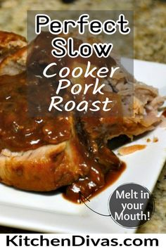 This Perfect Slow Cooker Pork Roast includes honey, onions, soy, red wine vinegar, mustard and garlic. A perfect combination and the gravy is fantastic!  #easyporkroast #slowcookerporkroast Easy No Bake Desserts, Delicious Desserts, Dessert Recipes, Yummy Food, Yummy Treats, Cake Recipes, Slow Cooker Pork Roast, Best Slow Cooker, Bhg Recipes