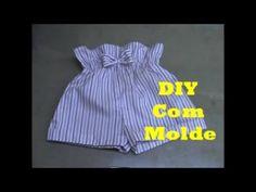 Top Infantil, Short Infantil, Short Bebe, Short Niña, Little Girl Dresses, Little Girls, Girls Dresses, Como Fazer Short, Cute Babies