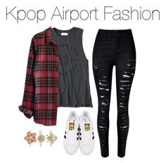 """""""Kpop Airport Fashion"""" by kookiechu ❤ liked on Polyvore featuring Abercrombie & Fitch, adidas Originals, Madewell and Accessorize"""