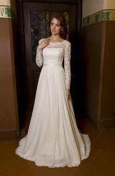 Vintage Inspired A-Line Wedding Dress with Lace by TashaMertene