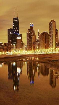 Night, Skyline, Chicago, Illinois