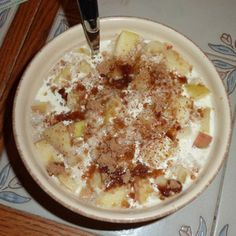 Apple Cinnamon Overnight Oatmeal. It was really good and very easy. Great to wake up to on those cold winter mornings. Next time I'll add a pinch or two of salt and more brown sugar.