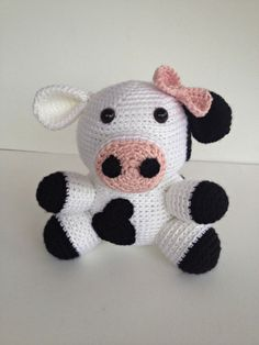 Stuffed animal kiddo picked out for peanut :) Crochet Girl Cow Amigurumi Stuffed Animal Toy by YouHadMeAtCrochet, $35.50