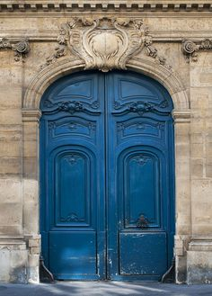 Paris Photo - The Blue Door, Ornate, Architectural Fine Art Photograph, Urban Home Decor