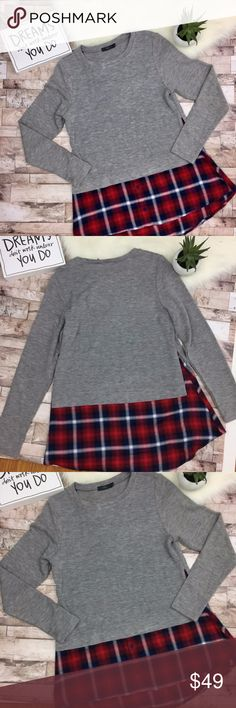 THML Plaid Stitch Fix Layered Sweater THML Plaid Stitch Fix Layered Sweater Gray bodice, red plaid hem Size medium Wear with your favorite skinny jeans and boots for a fall look  Reposhing, photocred: delaireboutique THML Sweaters Crew & Scoop Necks