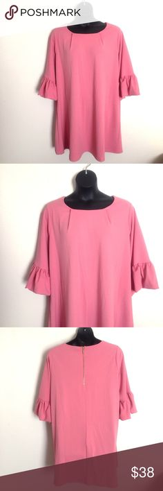 """Nina Leonard Dress Size 3x 22w 24w Pink Bell Condition; New w/Tags ~~ 88.00   Color; Pink Material; 95% polyester - 5% spandex  Measurements; chest 56"""", arm length 19.50"""", length 39""""  Bin A-W  ~~~ Offers Are Welcomed ~~~ Nina Leonard Dresses Midi"""