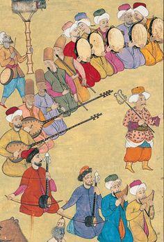 Levnî'nin minyatüründe saz topluluğu: Mıskal, kemançe, tanbur, ney ve def… Empire Ottoman, Oriental, Winged Horse, Buch Design, Islamic Paintings, Istanbul, Iranian Art, Turkish Art, Historical Art