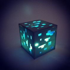 For all those Minecraft fans out there...Minecraft Diamond Ore Lamp #minecraft #diamondore #3dprinting #hatch3d by hatch3d
