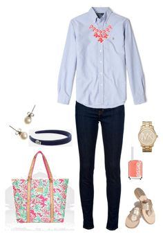 """""""Simple Ootd"""" by southern-and-preppy ❤ liked on Polyvore featuring J Brand, Polo Ralph Lauren, Jack Rogers, Lilly Pulitzer, 2b bebe, J.Crew, Lacoste, Essie and Michael Kors"""