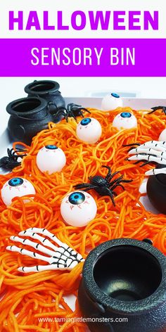 Learn how to make this Halloween themed sensory bin out of rainbow pasta. Turn spaghetti into this taste-safe sensory activity for babies, toddlers and preschoolers.    #halloween #sensory #babies #baby #toddler #preschooler